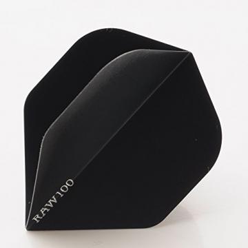 5 x SETS RAW100 EXTRA TOUGH schwarz DART FLIGHTS STANDARD SHAPE 100 MICRON STRONG - 1